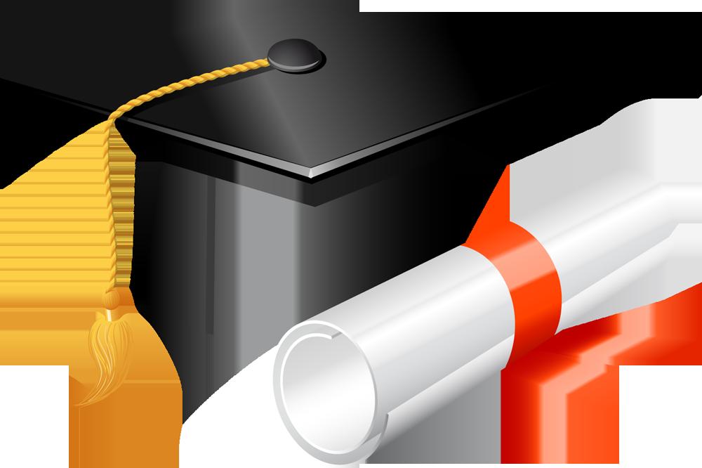 Graduation Cap and Diploma Clip Art